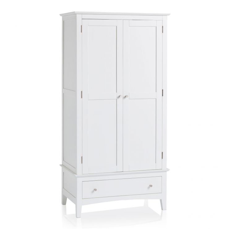 Shaker White Painted Hardwood Double Wardrobe - Image 5