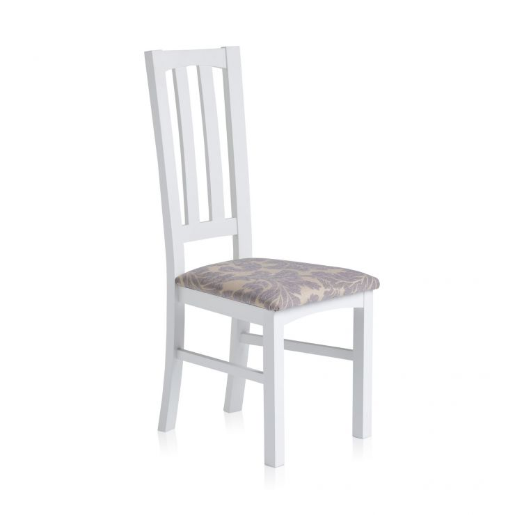 Shaker White Painted Hardwood Patterned Grey Fabric Dining Chair