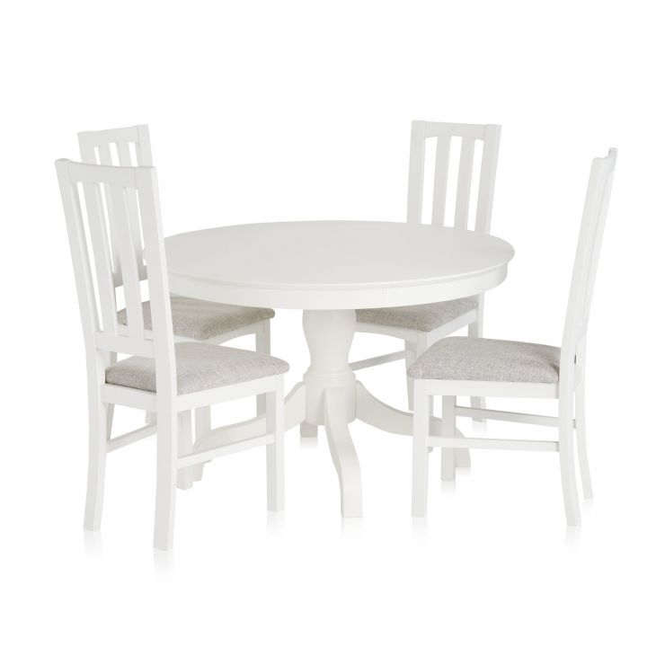 Shaker White Painted Hardwood Round Dining Table with 4 Shaker Chairs