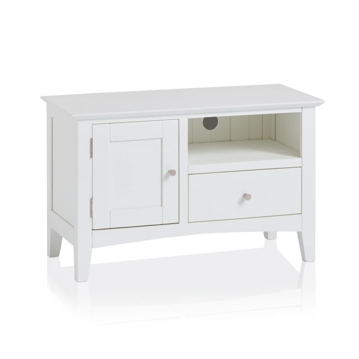 new style 69b55 02531 Shaker White Painted Hardwood Small TV Cabinet