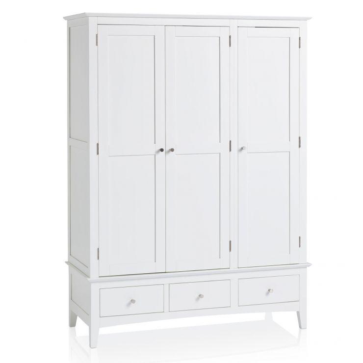 Shaker White Painted Hardwood Triple Wardrobe - Image 5