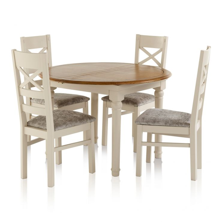 Shay Dining Set - 4ft Round Extending Dining Table with 4 Shay Chairs with Truffle Fabric Upholstery