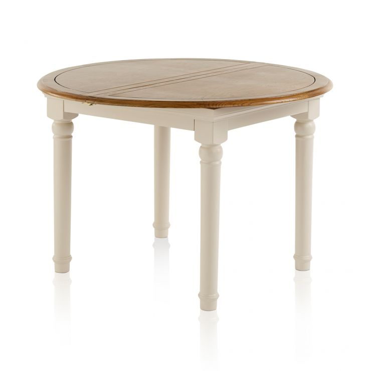 Shay Rustic Oak and Painted Round Extending Dining Table - Image 7