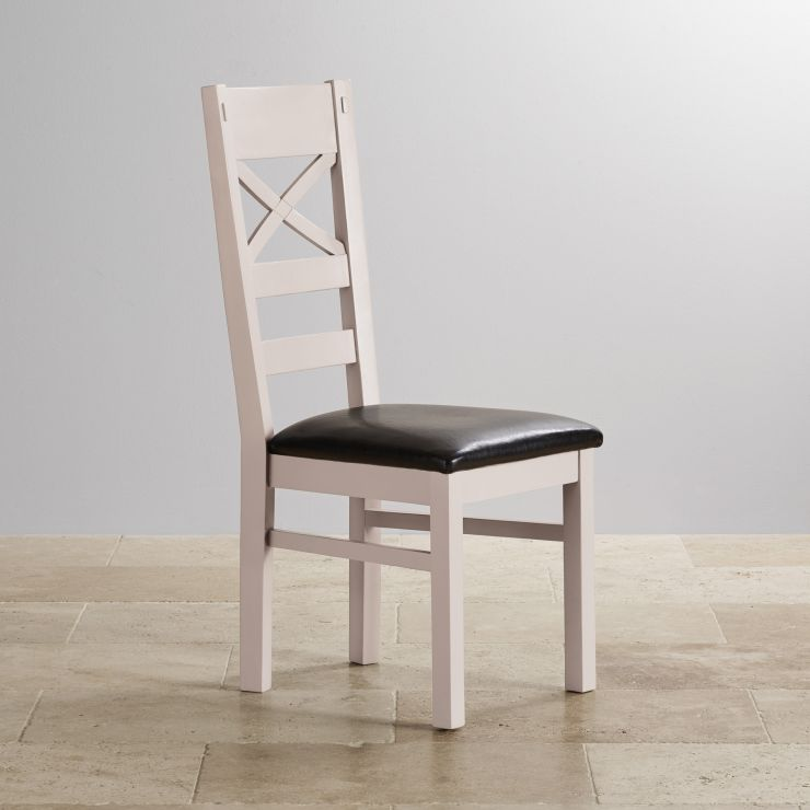 Shay Rustic Solid Oak and Painted and Black Leather Dining Chair - Image 4