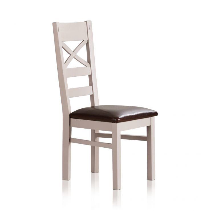 Shay Rustic Solid Oak and Painted and Brown Leather Dining Chair - Image 4