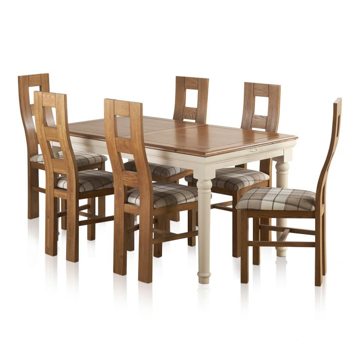 Shay Rustic Solid Oak and Painted Dining Set - 5ft Extending Table + 6 Wave Back Brown Check Chairs - Image 1