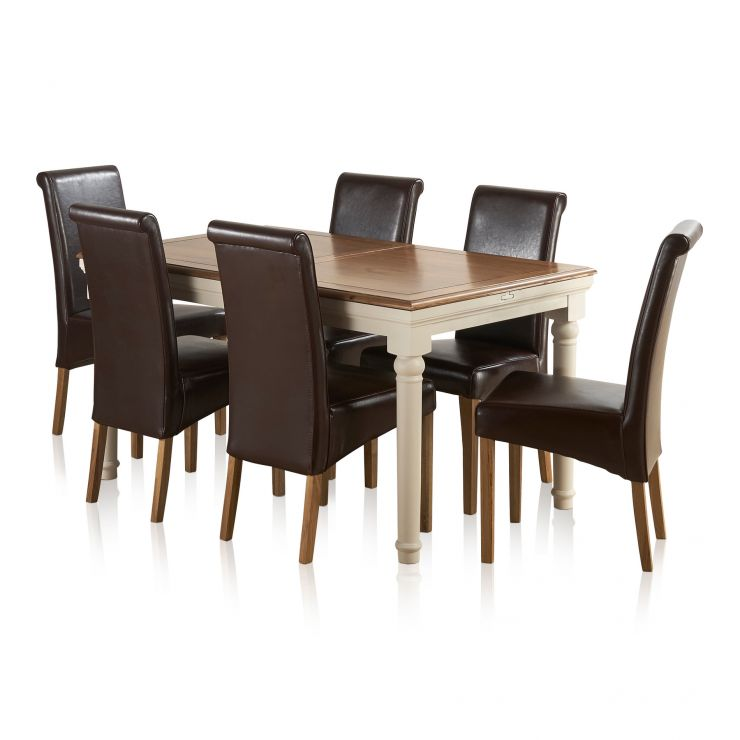 Shay Rustic Solid Oak and Painted Dining Set - 5ft Extending Table with 6 Scroll Back Brown Leather - Image 13