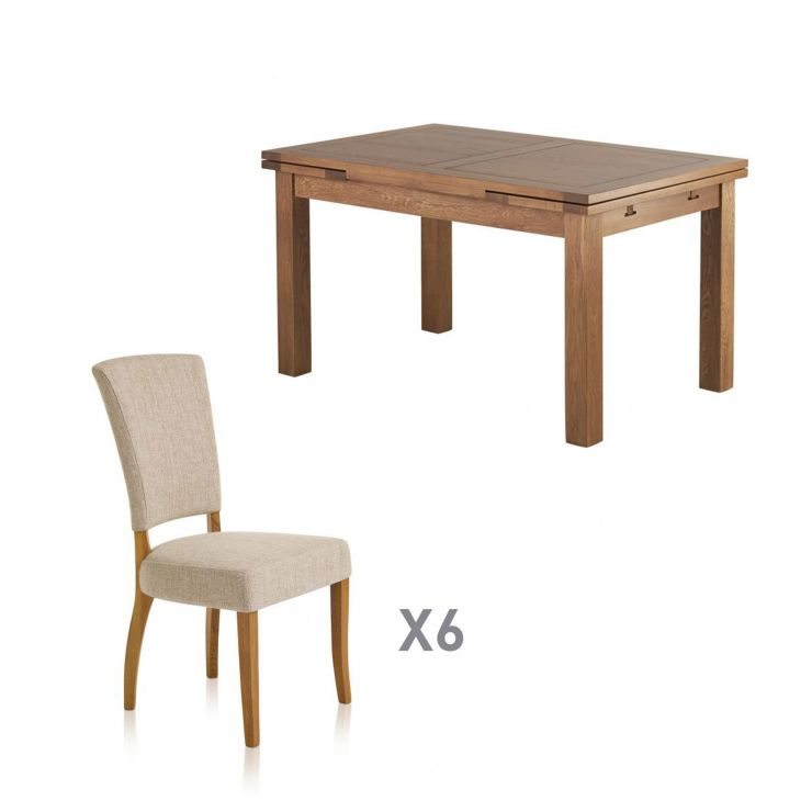 """Sherwood Solid Oak 4ft 7"""" x 3ft Extending Dining Table + 6 Upholstered Curve Back Plain Beige Fabric Chair with Solid Oak Legs"""