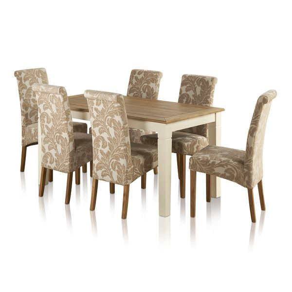 """Shutter Brushed Oak and Painted 5ft x 2ft 6"""" Dining Table with 6 Scroll Back Beige Patterned Chairs"""