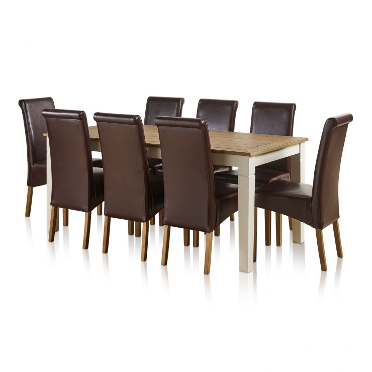 Shutter Brushed Oak and Painted 6ft Dining Table with 8 Scroll Back Brown Leather Chairs - Image 3