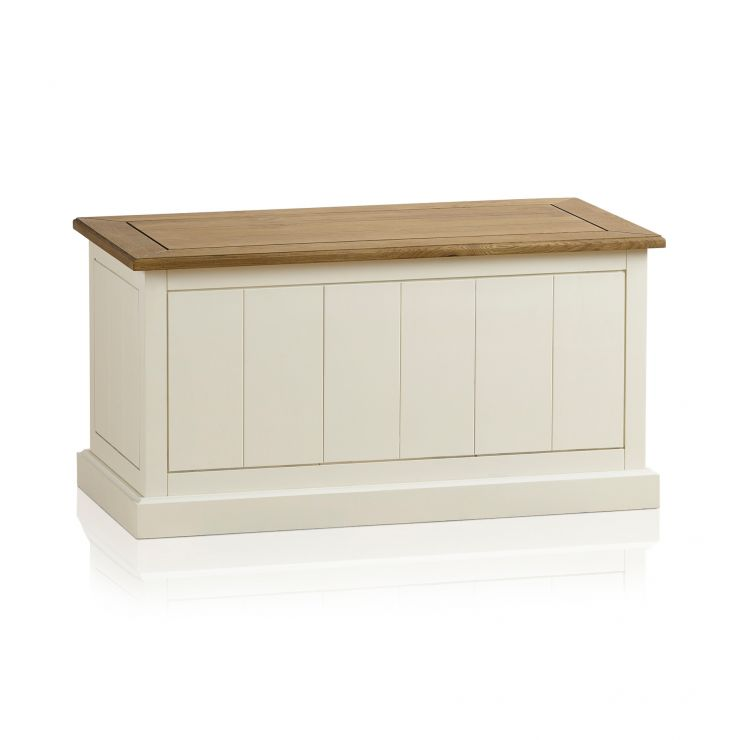 Shutter Brushed Oak and Painted Blanket Box - Image 5