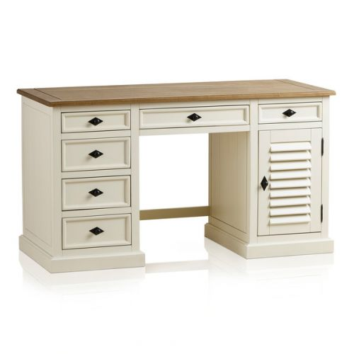 Bevel Natural Solid Oak Computer Desk By Oak Furniture Land