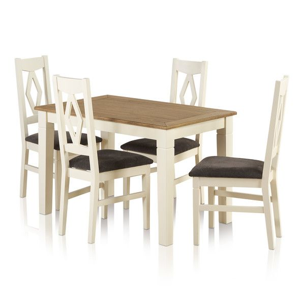 Shutter Brushed Oak and Painted Dining Set - 4ft Dining Table with 4 Plain Charcoal Shutter Chairs