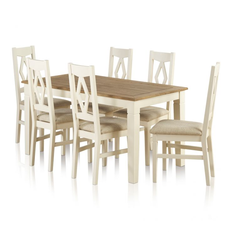 Shutter Brushed Oak and Painted Dining Set - 5ft Dining Table with 6 Plain Beige Shutter Chairs - Image 7