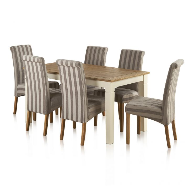 Shutter Brushed Oak and Painted Dining Set - 5ft Dining Table with 6 Scroll Back Striped Silver Fabric Chairs - Image 6