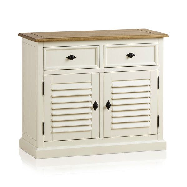Shutter Brushed Oak and Painted Small Sideboard