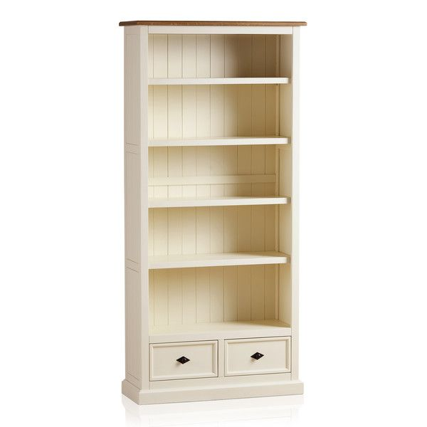 Shutter Brushed Oak and Painted Tall Bookcase