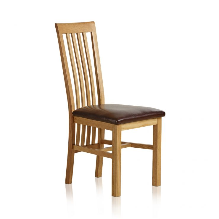 Slat Back Natural Solid Oak and Brown Leather Dining Chair