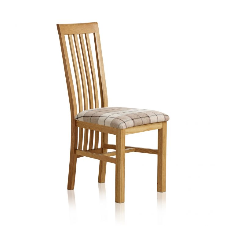 Slat Back Natural Solid Oak and Check Brown Fabric Chair