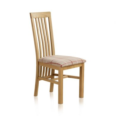 Slat Back Natural Solid Oak and Check Natural Fabric Dining Chair