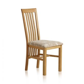 Slat Back Natural Solid Oak and Patterned Beige Fabric Dining Chair