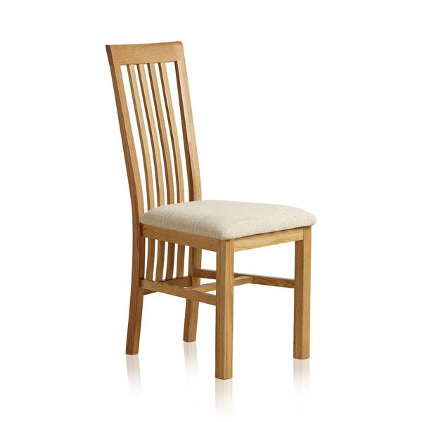 Slat Back Natural Solid Oak and Plain Beige Fabric Dining Chair