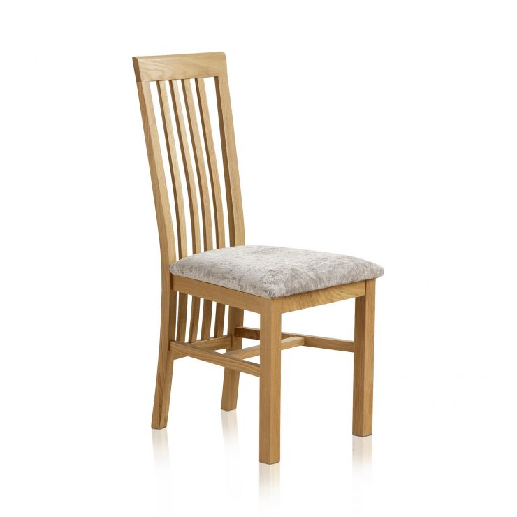 Slat Back Natural Solid Oak and Plain Truffle Fabric Dining Chair - Image 3