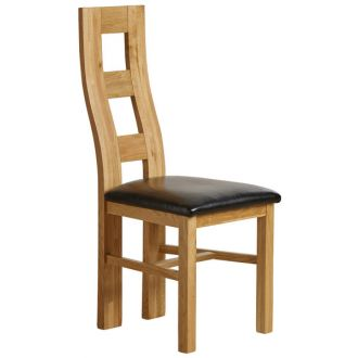 Wave Back Dining Chair in Natural Solid Oak and Black Leather