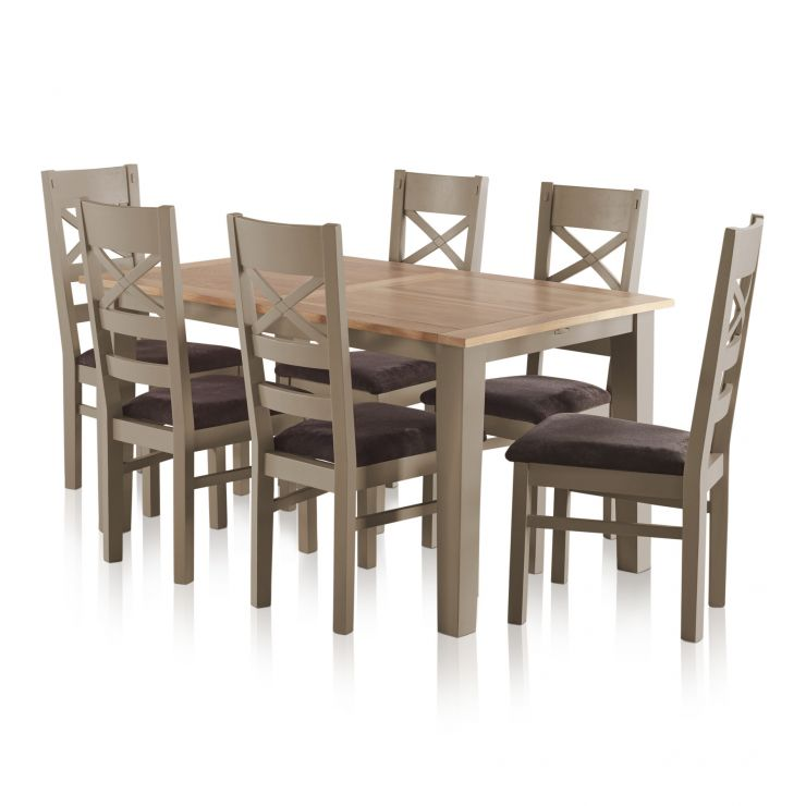 St. Ives Natural Oak and Grey Painted 5ft Extending Dining Table + 6 Fabric Chairs