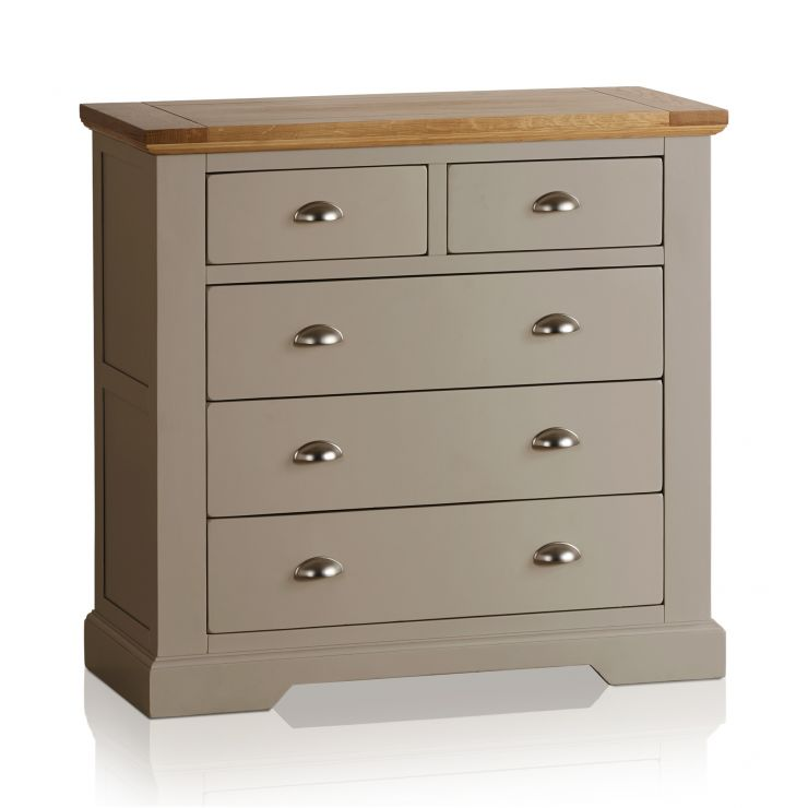 St Ives Natural Oak and Light Grey Painted 2+3 Drawer Chest - Image 1