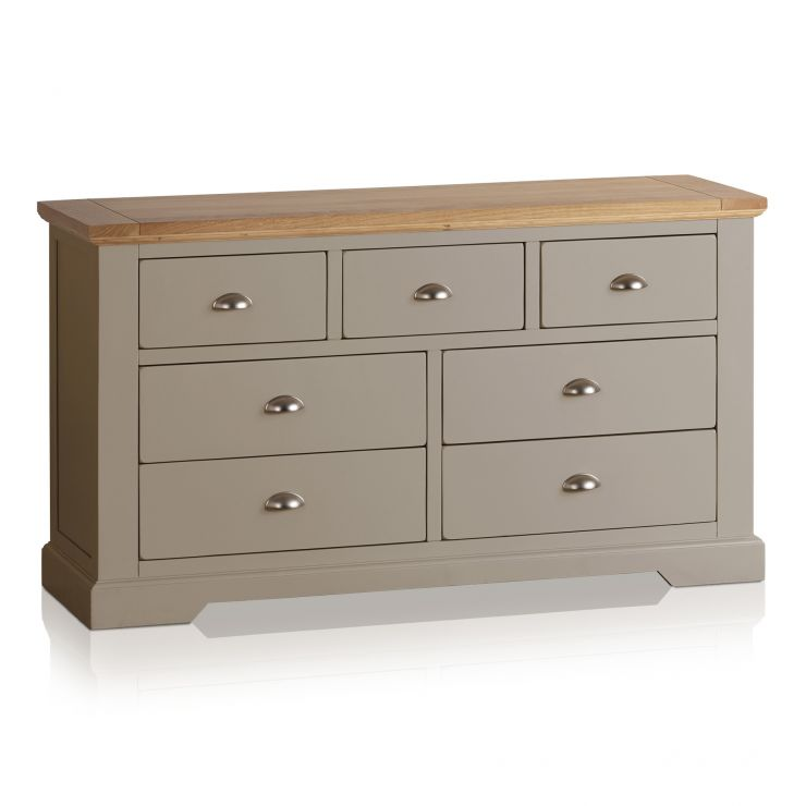 St Ives Natural Oak and Light Grey Painted 3+4 Drawer Chest - Image 5