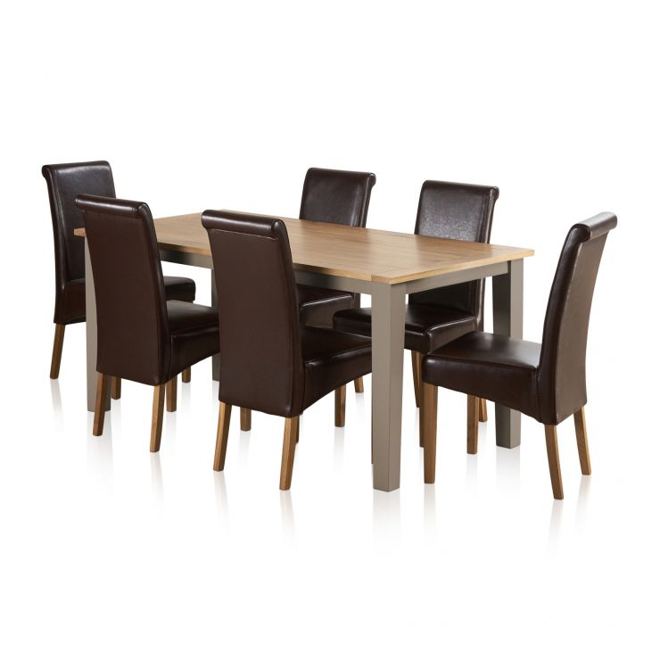 """St Ives Natural Oak and Light Grey Painted 5ft 6"""" Dining Table with 6 Leather Chairs - Image 6"""