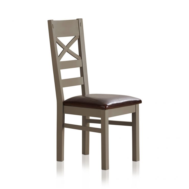 St Ives Natural Oak and Light Grey Painted and Brown Leather Dining Chair - Image 3
