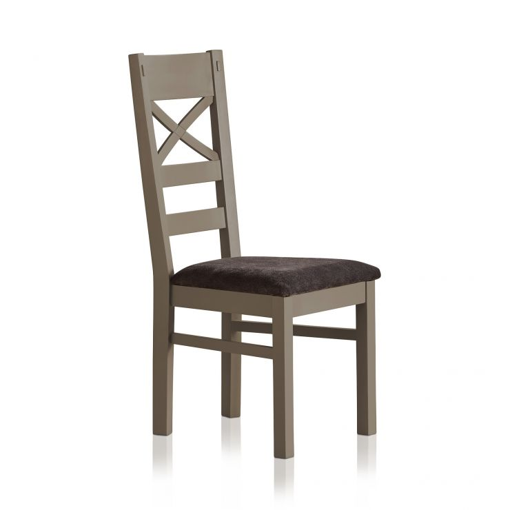 St Ives Natural Oak and Light Grey Painted and Plain Charcoal Fabric Dining Chair  - Image 3