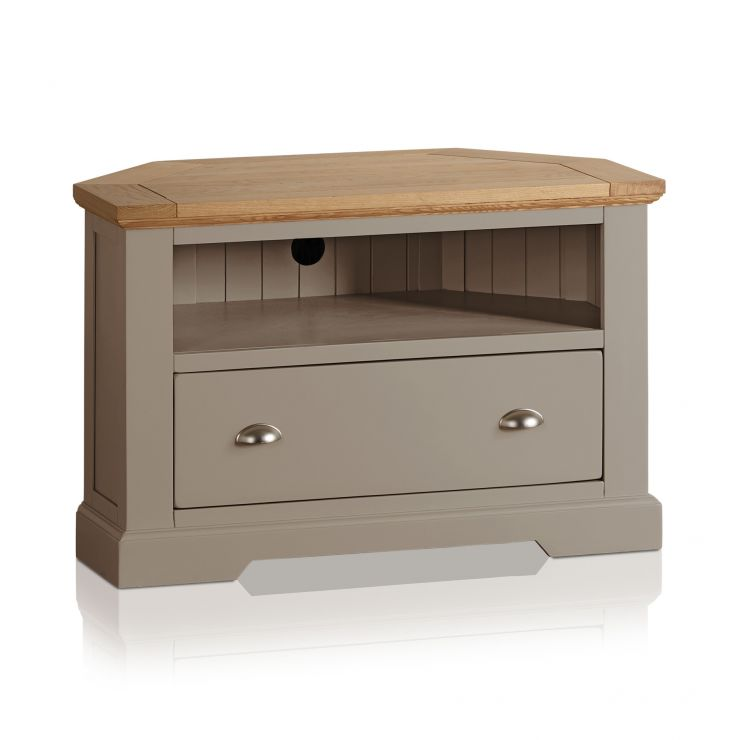 St Ives Natural Oak and Light Grey Painted Corner TV Cabinet - Image 4