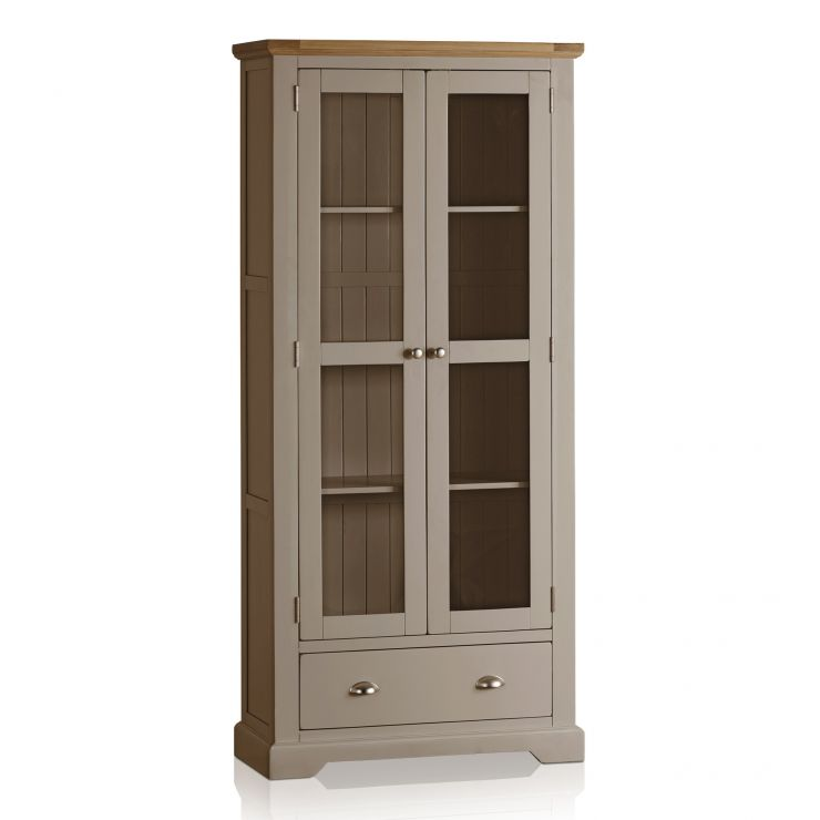 St Ives Natural Oak And Light Grey Painted Display Cabinet   Image 1  Express Delivery