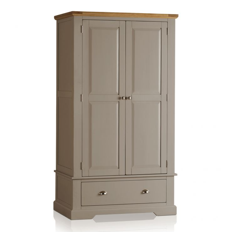 St Ives Natural Oak and Light Grey Painted Double Wardrobe - Image 1