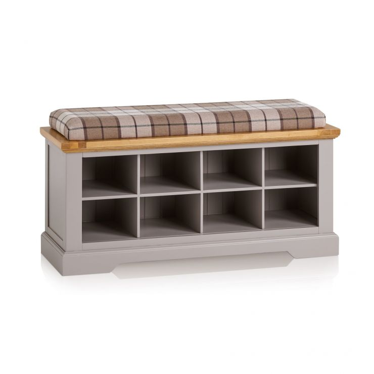 St Ives Natural Oak and Light Grey Painted Shoe Storage with Check Brown Fabric Hallway Pad - Image 1