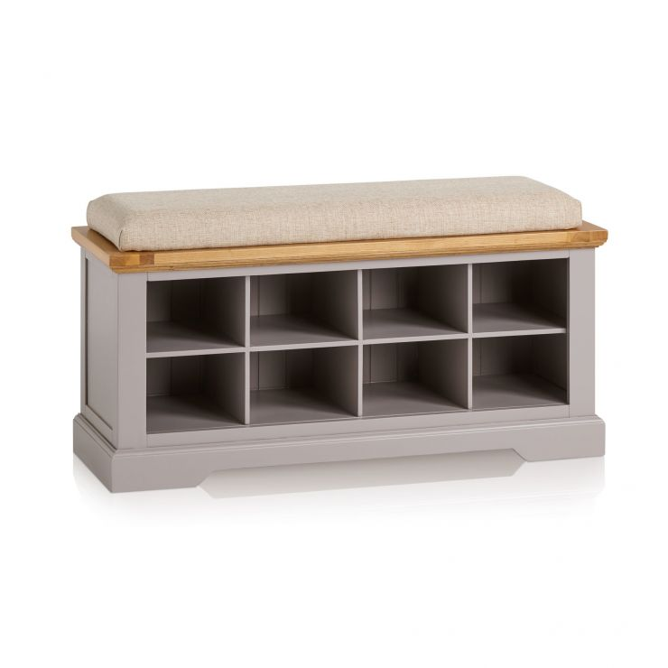 St Ives Natural Oak and Light Grey Painted Shoe Storage with Plain Beige Fabric Hallway Pad