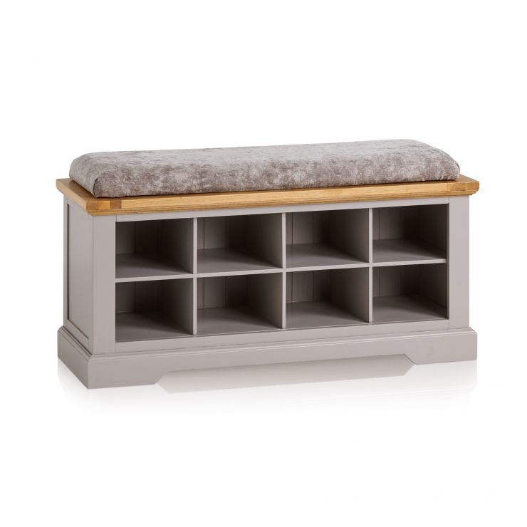 St Ives Natural Oak and Light Grey Painted Shoe Storage with Plain Truffle Fabric Hallway Pad
