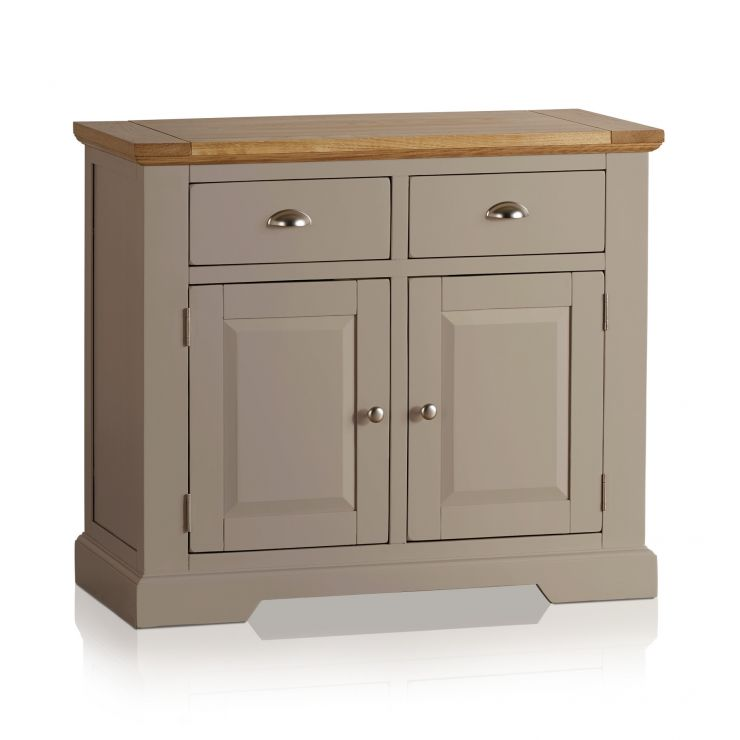 St Ives Natural Oak and Light Grey Painted Small Sideboard - Image 5