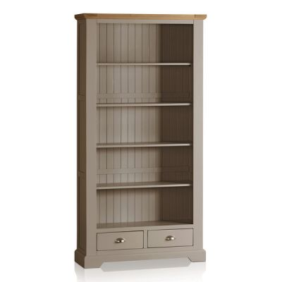 St Ives Natural Oak and Light Grey Painted Tall Bookcase