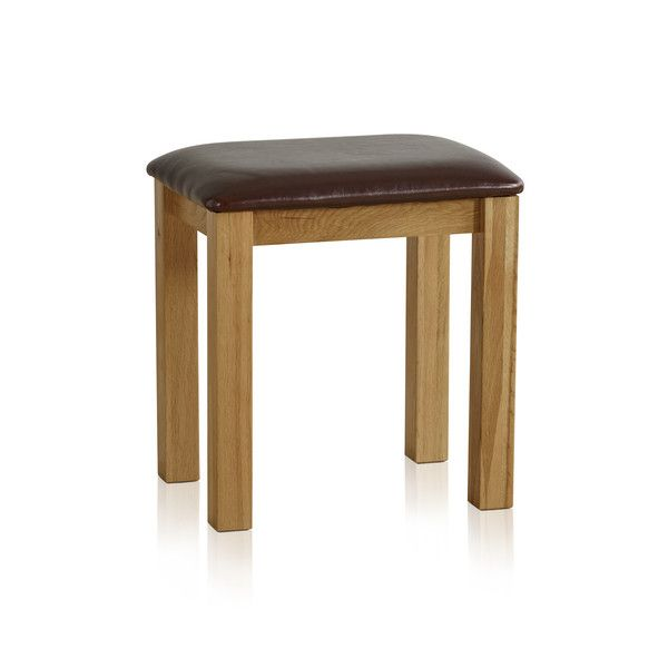 Tokyo Natural Solid Oak and Brown Leather Dressing Stool