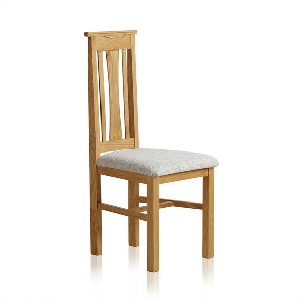Tokyo Natural Solid Oak and Grey Plain Fabric Dining Chair