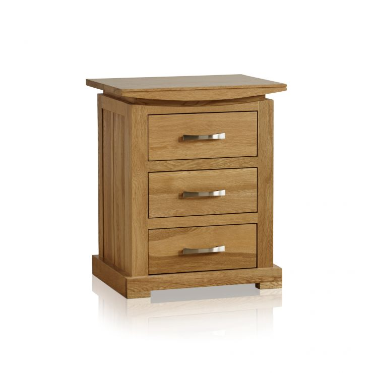 Tokyo Natural Solid Oak Bedside Table with 3 Drawers - Image 6