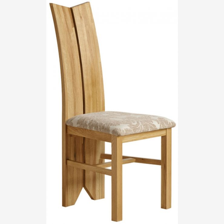 Tulip Natural Solid Oak and Patterned Beige Fabric Dining Chair - Image 3