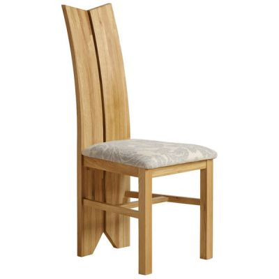 Tulip Natural Solid Oak and Patterned Grey Fabric Dining Chair