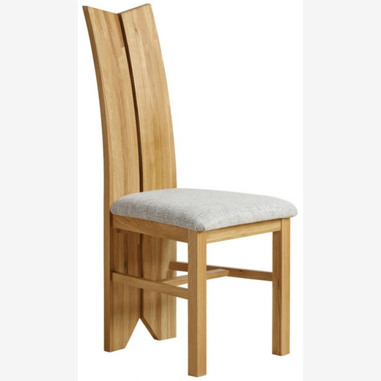 Tulip Natural Solid Oak and Plain Grey Fabric Dining Chair - Image 3