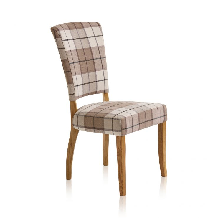 Upholstered Curve Back Check Brown Fabric Chair with Solid Oak Legs