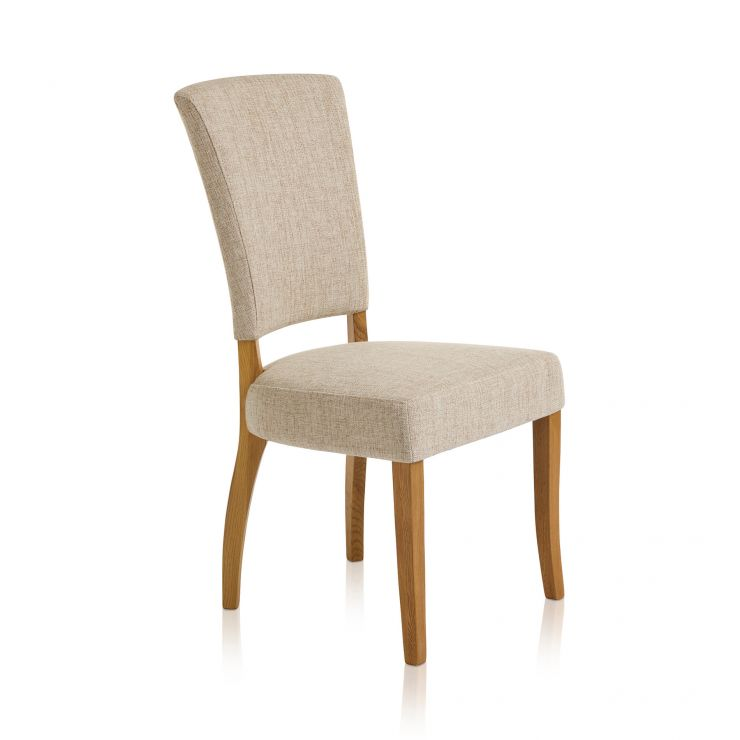 Upholstered Curve Back Plain Beige Fabric Chair with Solid Oak Legs